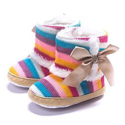 Celiy Baby Girl Rainbow Soft Sole Snow Boots Soft Crib Shoes