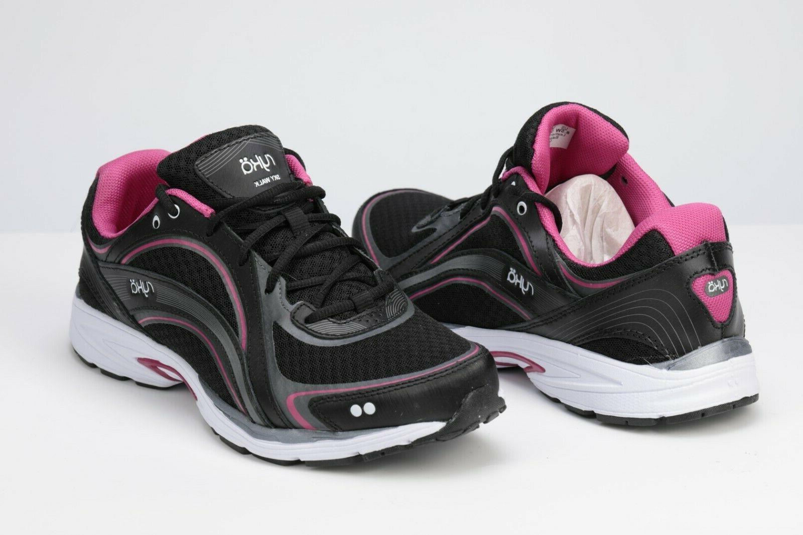 sky walk walking shoe black pink 8