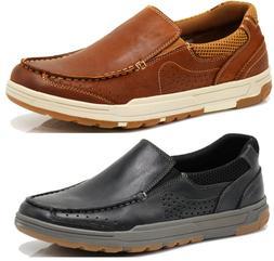 Men Leather Comfortable Sports Walking Slip On Loafer Rubber