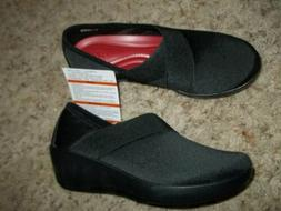 NWT Black Stretchy CROCS Walking Comfort Shoes Loafers Size