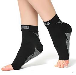 Buttons & Pleats Plantar Fasciitis Socks with Arch & Ankle S