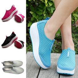 Women Casual Sport Shoes Walking Platform Breathable Mesh Ru