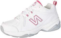 New Balance Women's WX608v4 Training Shoe, White/Pink, 8.5 D